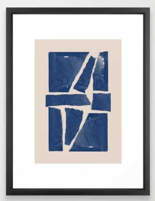 Watercolor collage, Paper Collage, Blue and Beige Framed Art Print - Society6
