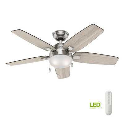 Antero 46 in. LED Indoor Brushed Nickel Ceiling Fan with Light Bundled with Handheld Remote ControlLight - Home Depot