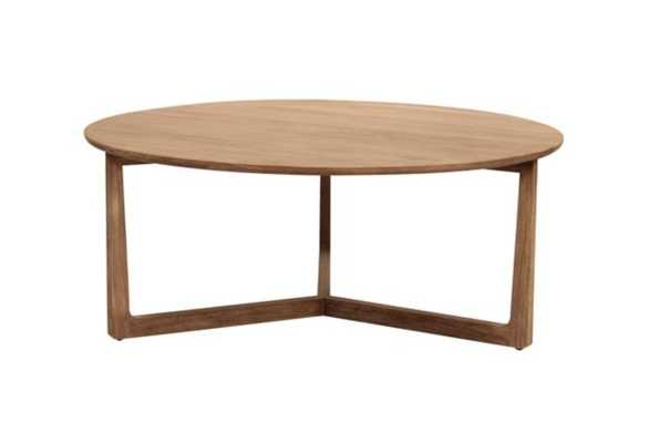 Laura Modern Classic White Washed Teak Wood Round Coffee Table - Kathy Kuo Home