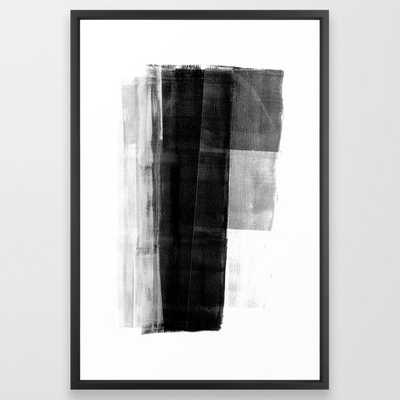 Monolith - Black and White Minimalist Abstract Monotype Framed Art Print - Society6