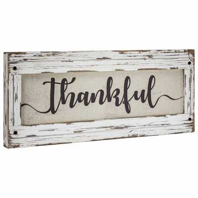 'Thankful' Wood Framed Inspirational Canvas Sign Farmhouse Wall Décor - Wayfair