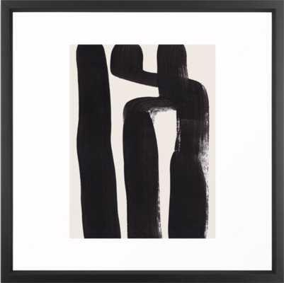Mid Century Modern Minimalist Abstract Art Brush Strokes Black & White Ink Art Ancient Stripes Framed Art Print - Society6