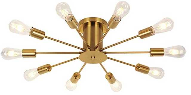 VINLUZ 10 Lights Semi Flush Mount Ceiling Light Brushed Brass Contemporary Sputnik Chandelier - Amazon