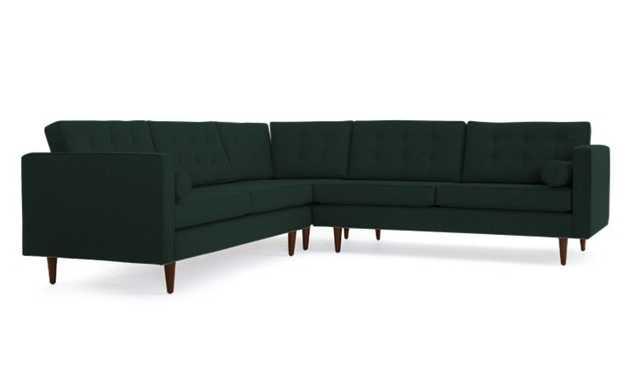 Green Braxton Mid Century Modern Corner Sectional - Royale Evergreen - Mocha - Joybird