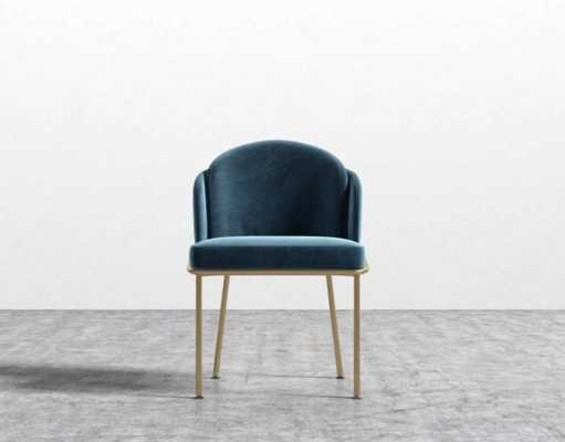 Angelo Dining Chair in Solstice, Blue and Brass - Rove Concepts