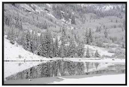 "USA, Colorado, Maroon Bells State Park. Autumn snowfall on mountain and Maroon Lake 54 x 36"" - art.com"