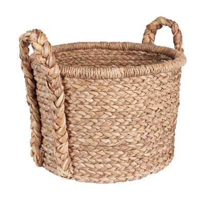 18.5 in x 20 in. Water Hyacinth Soft Basket with Braided Handles, Brown - Home Depot