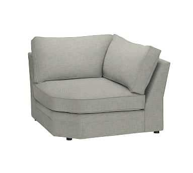 Pearce Roll Arm Upholstered Wedge, Down Blend Wrapped Cushions, Premium Performance Basketweave Light Gray - Pottery Barn