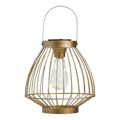 Champagne Gold Wire Cage Solar LED Lantern - World Market/Cost Plus