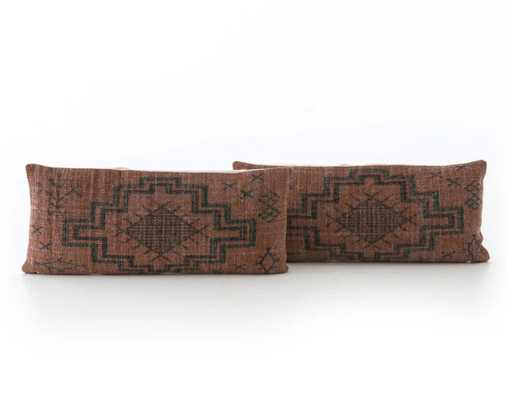Set of 2 Tribal Rust Lumbar Pillows - Burke Decor