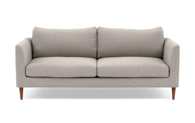 Owens Sofa with Grey Fog Fabric, standard downblend cushions, and Painted Black legs - Interior Define