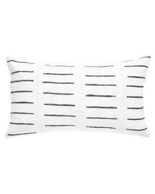 DASH MUD CLOTH LUMBAR PILLOW IN WHITE - PillowPia