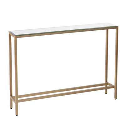 Rakin Gold Narrow Console Table with Mirrored Top - Home Depot