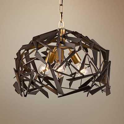 "Bermuda 18""W Antique Gold with Rustic Bronze 3-Light Pendant - Lamps Plus"