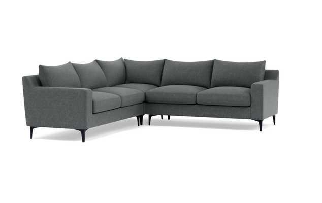 SLOAN Corner 4-Seat Sectional Sofa - Nimbus Performance Weave - Matte Black Solan L Leg - Interior Define