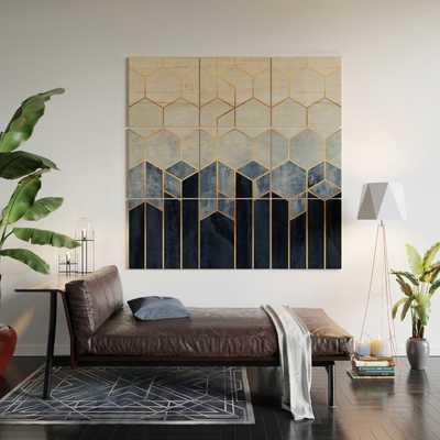 Soft Blue Hexagons Wood Wall Art - 5x5 - Society6