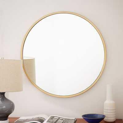 Metal Framed Round Mirror, Antiqued Brass - West Elm