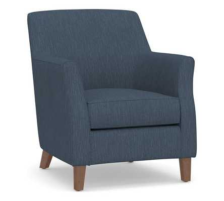 SoMa Newton Upholstered Armchair, Polyester Wrapped Cushions, Performance Heathered Tweed Indigo - Pottery Barn
