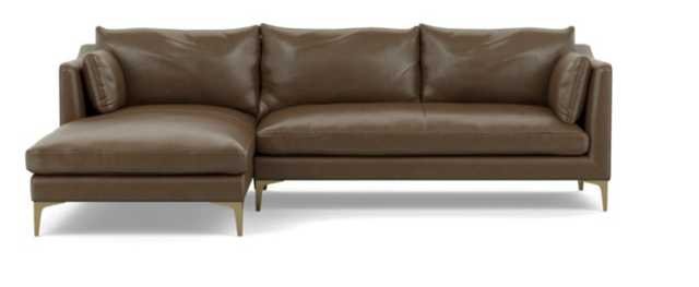 CAITLIN LEATHER BY THE EVERYGIRL Leather Sectional Sofa with Left Chaise - Pecan - Interior Define