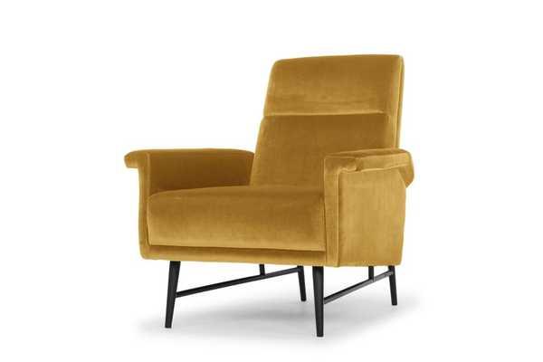 Mathise Occasional Chair in Mustard & Matte Black design by Nuevo - Burke Decor