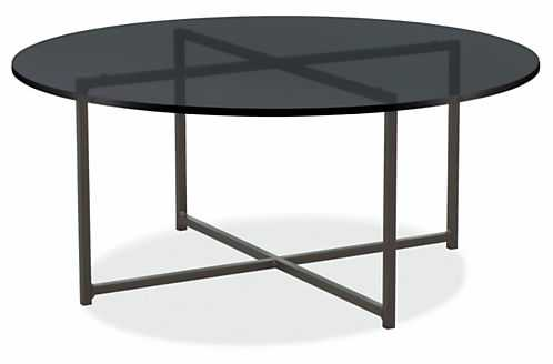 """Classic Coffee Tables in Natural Steel - 36"""", Smokoe Tempered Glass - Room & Board"""