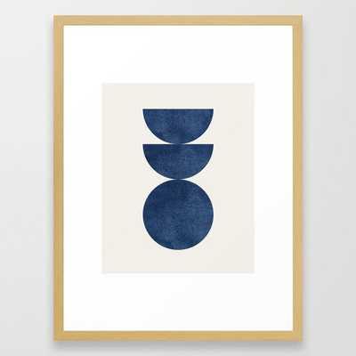 Woodblock navy blue Mid century modern Framed Art Print - Society6