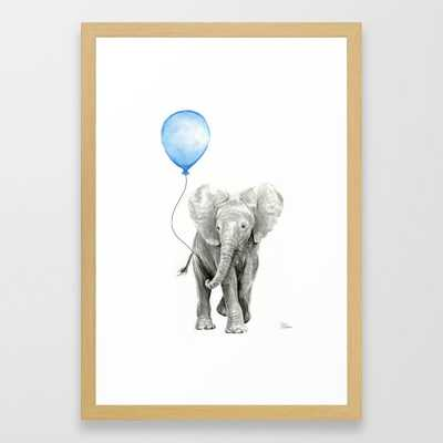 Baby Animal Elephant Watercolor Blue Balloon Baby Boy Nursery Room Decor Framed Art Print - Society6