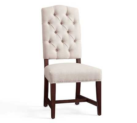 Ashton Tufted Dining Side Chair, Performance Heathered Tweed, Ivory - Pottery Barn