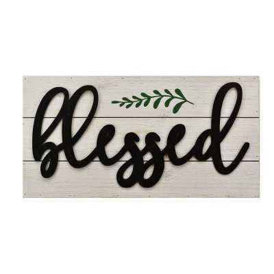 Blessed Metal 3D Quote on Wood Sign Plaque Wall Décor - Wayfair