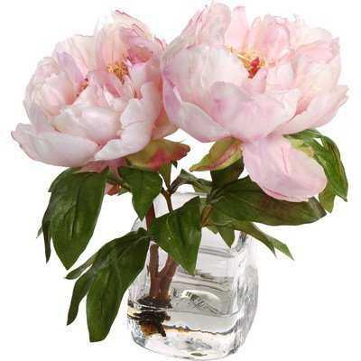 Faux Peony Floral Arrangement in Vase - Birch Lane