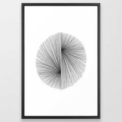 "Mid Century Modern Geometric Abstract Radiating Lines Framed Art Print- 26"" x 38"" - Society6"