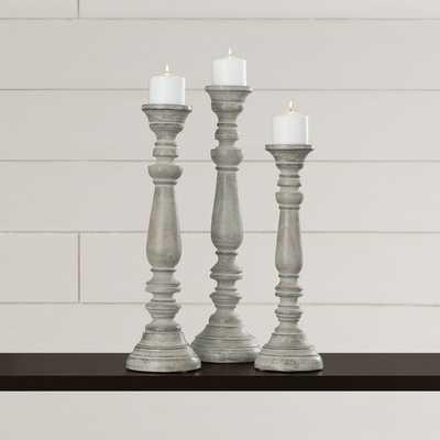 La Sarre 3 Piece Wood Candlestick Set - Wayfair