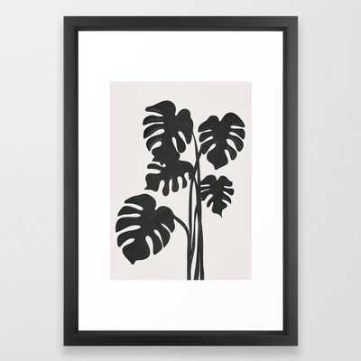 Monstera Line Framed Art Print - Society6