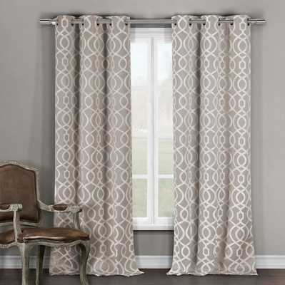 "Higgenbotham Geometric Light Filtering Thermal Grommet Curtain Panels - Taupe - 84"" - Wayfair"