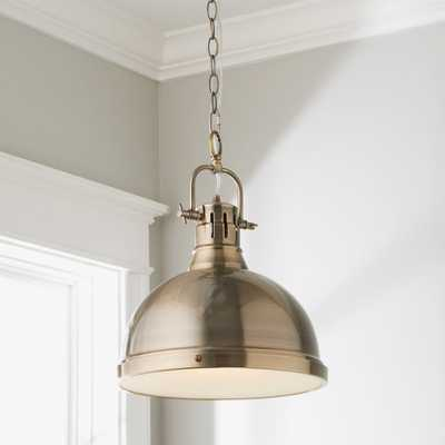 CLASSIC DOME SHADE PENDANT LIGHT WITH CHAIN - LARGE - Aged Brass Matte Black - Shades of Light
