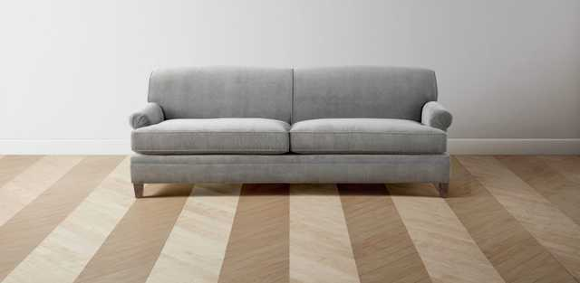 """Carmine 85"""" Sofa in Performance Linen Putty with Washed Oak Legs - Maiden Home"""