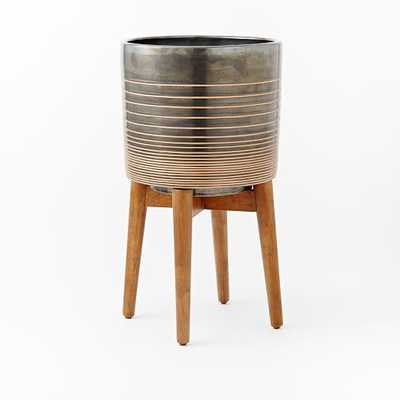 Turned Wood Leg Standing Planter, Tall, Black/Gold - West Elm