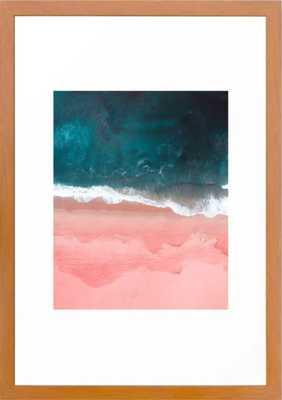 "Turquoise Sea Pastel Beach III Framed Art Print - Conservation Pecan - 15"" x 21"" - Society6"