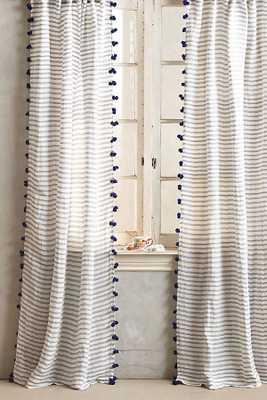 "Pom Tassel Curtain-Navy-108""x50"" - Anthropologie"