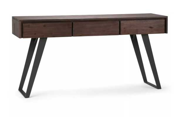 Mitchell Solid Acacia Wood Console Sofa Table Distressed Charcoal Brown - Wyndenhall - Target