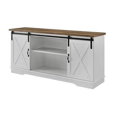 "White/Reclaimed Barnwood Top Kemble TV Stand for TVs up to 64"" - Wayfair"