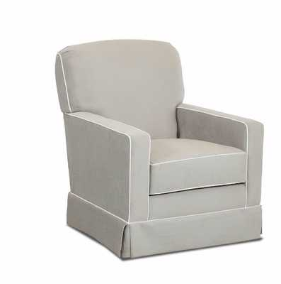 Denning Swivel Glider - Sunbrella Cast Silver (body), Spinnsol Optich White (piping) - Wayfair