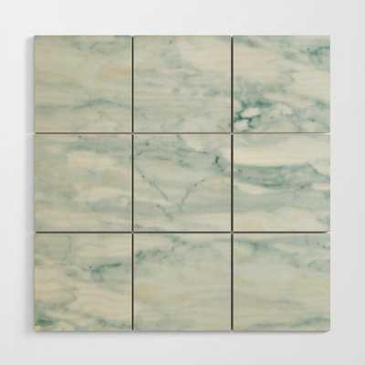 Marble Pale Teal Sea Green Marble Wood Wall Art - 4'x4' - Society6