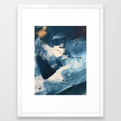 Against the Current: A bold, minimal abstract acrylic piece in blue, white and gold Framed Art Print - Society6