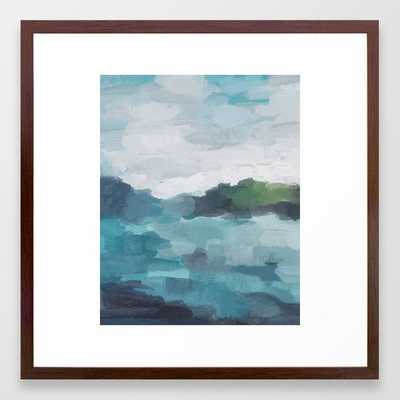 "Aqua Blue Green Abstract Art Painting Framed Art Print - 26"" x 38"" - Society6"
