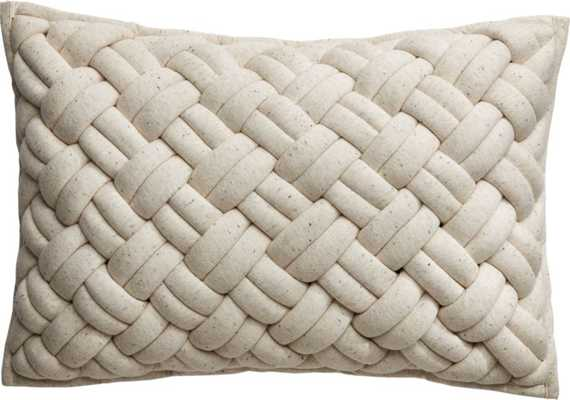"""18""""x12"""" Jersey Ivory InterKnit Pillow with Down-Alternative Insert"" - CB2"