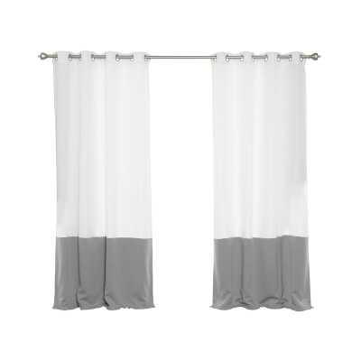 Girard Color Block Semi-Sheer Grommet Curtain Panels - Wayfair