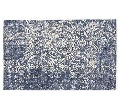 Shilah Synthetic Rug, 8 x 10', Blue - Pottery Barn