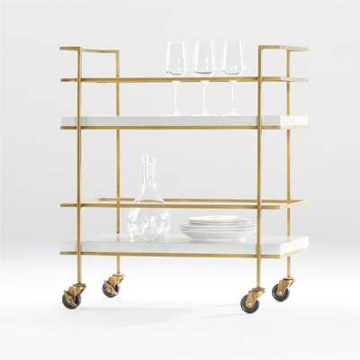 Adina Brass Cart with Silver Leaf Concrete Shelves - Crate and Barrel