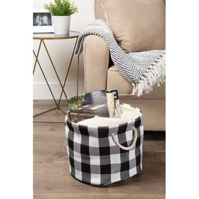 Round Buffalo Check Fabric Bin - Wayfair